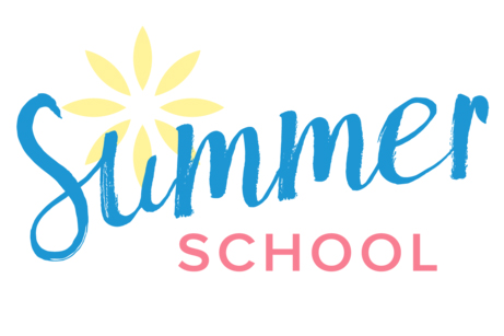 Sign reading Summer School with sun graphic in background