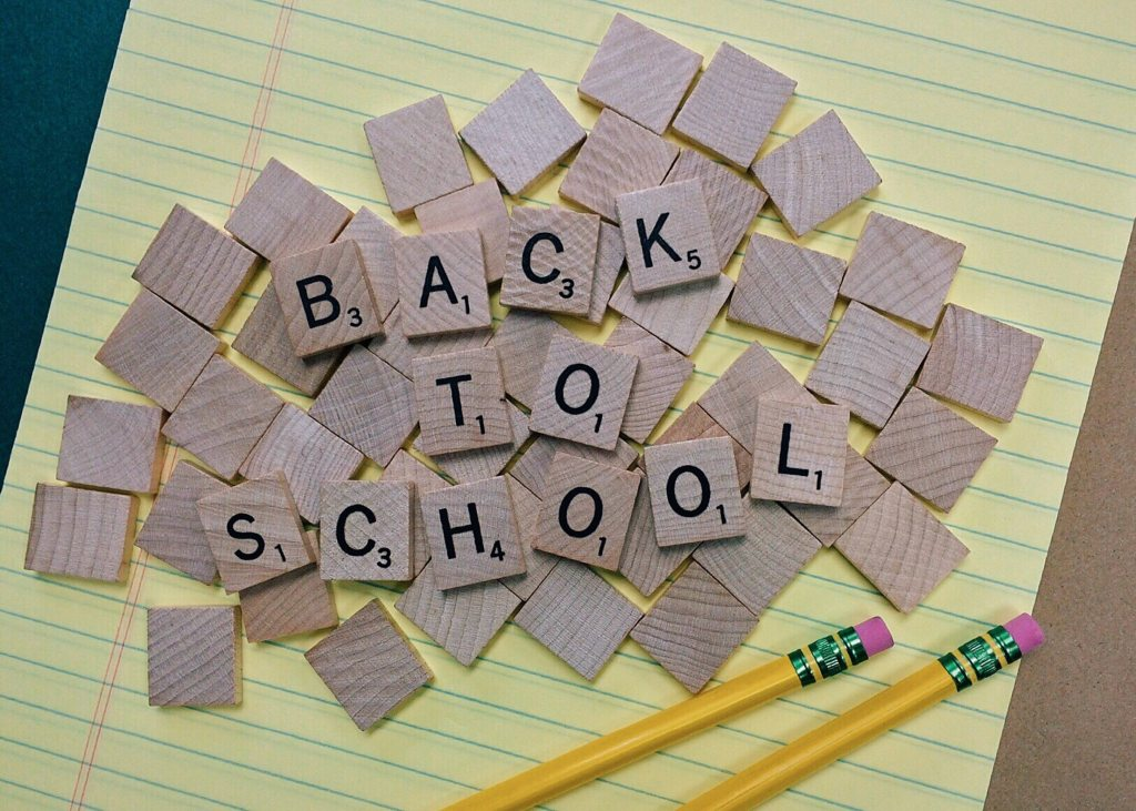 Back to School spelled out in Scrabble tiles as part of welcome back staff message