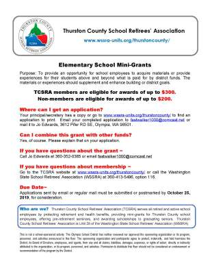 Elementary School Mini Grant Information Flyer