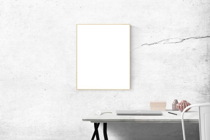 Blank canvas hung on wall