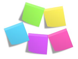 Sticky notes in different colors