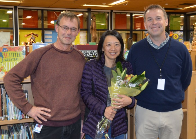 Linda Kim-Zaccagnini, Brendon Chertok and Patrick Murphy pose for CSEY employee of the year