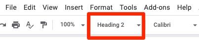 Google Docs screenshot. The Heading menu is highlighted in the top menu.
