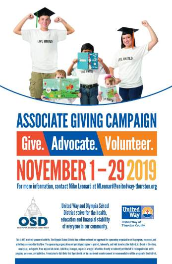 United Way campaign poster with information contained in the article