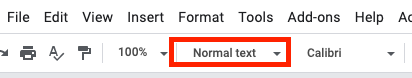 Google Docs top menu. The Style menu drop-down is highlighted.