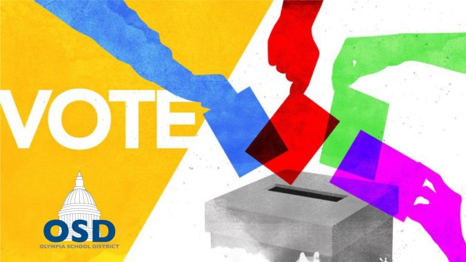Vote graphic showing hands dropping colored pieces of paper into a box opening