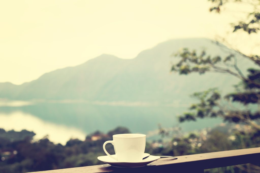White ceramic teacup sits on railing with mountains and lake in the distance