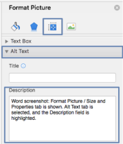 Microsoft Word Format Picture Menu. The Size and Properties tab is selected, and the Alt Text option is expanded. The Description field is highlighted.
