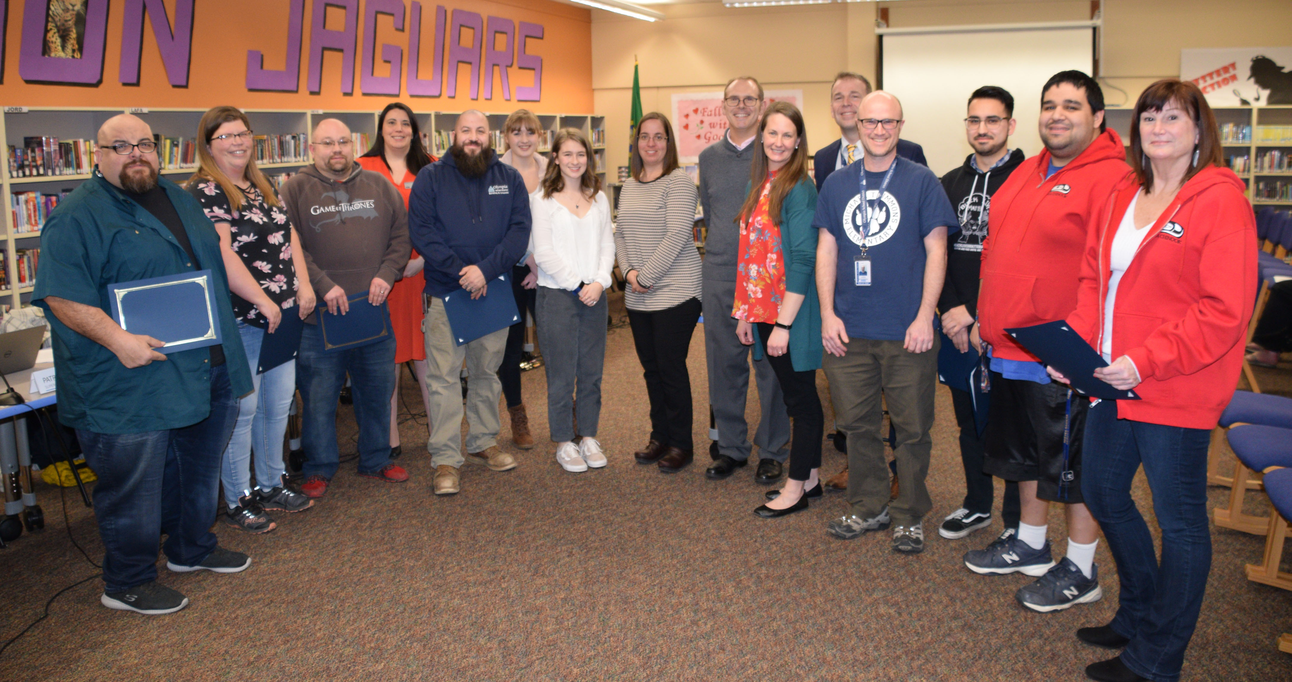 OSD School Board joins Bargaining Unit Reps for a photo during recognition of Education Support Professionals Week