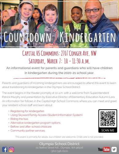 Countdown to Kindergarten info flyer. Information is contained in the article