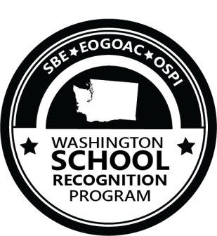 Logo for Washington School Recognition Program with image of WA state map