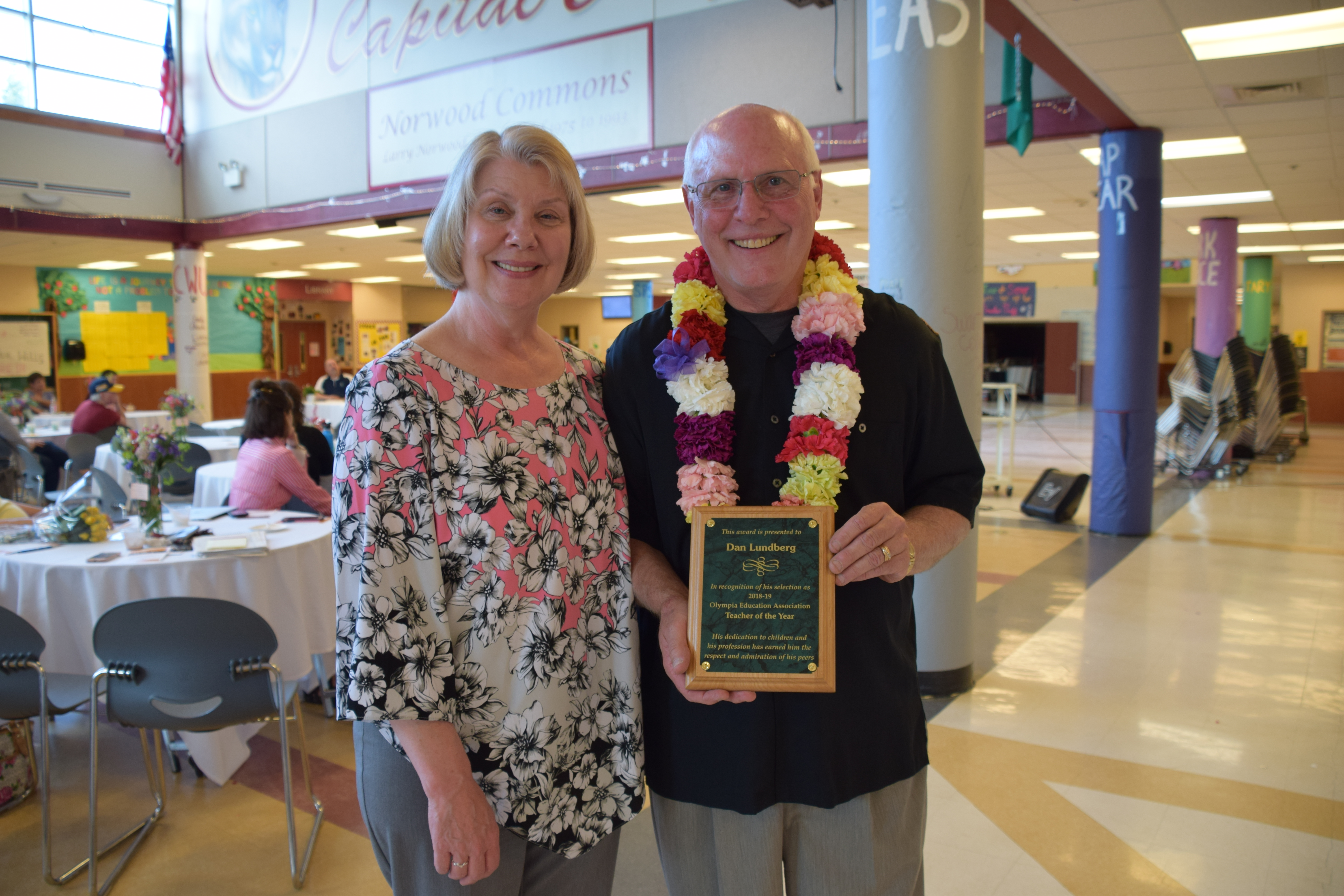 2019 Teacher of the Year Dan Lundberg shown with his wife at the Ice Cream Social