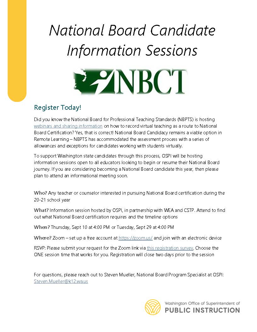National Board Candidate Information Sessions info including times and dates listed in accompanying article