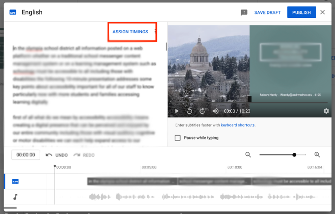 YouTube caption editing screen. Assign Timings is selected