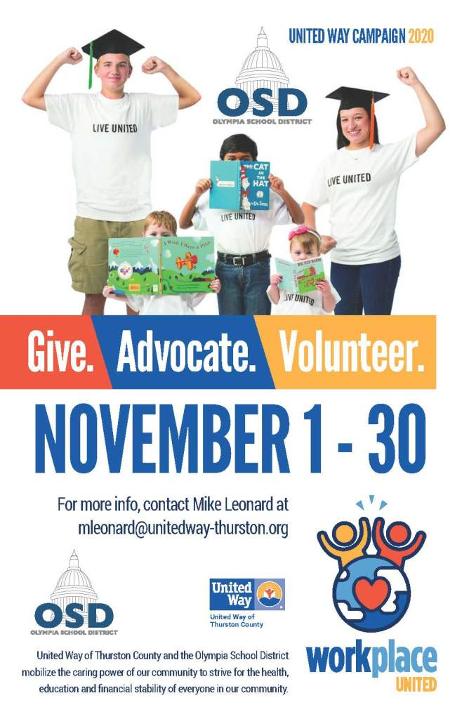 United Way poster advertising annual United Way Drive in OSD. Information is all in text.