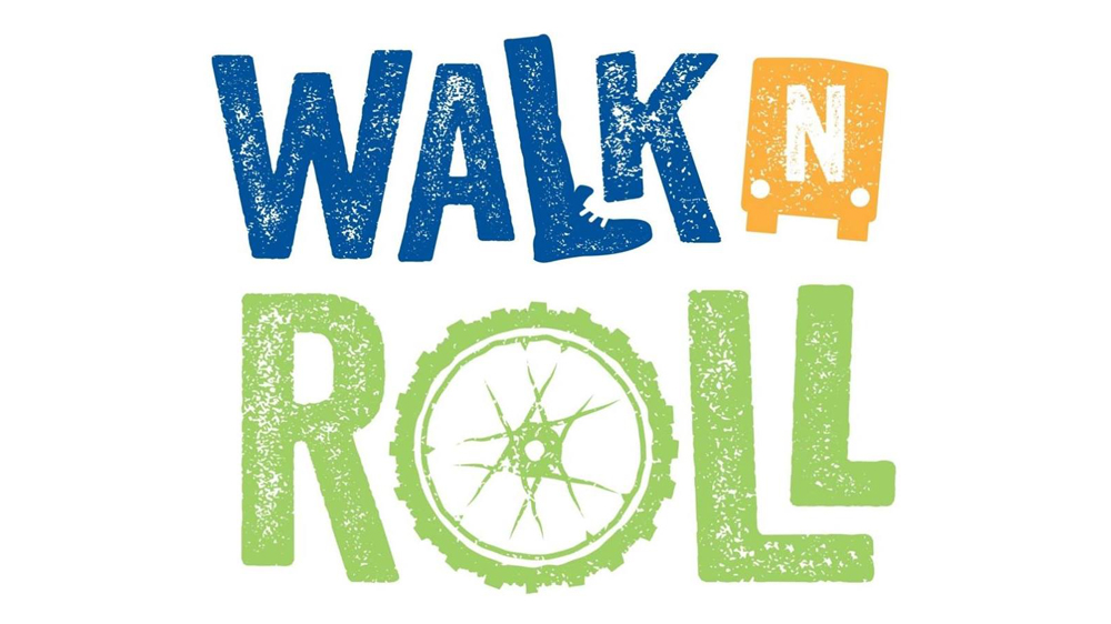 Walk n Roll Logo with words Walk n Roll (letter O in Roll is a bicycle wheel