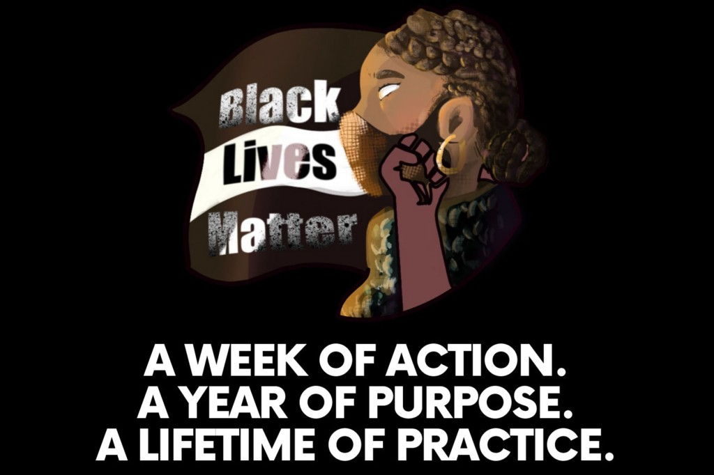 "Black Lives Matter at School Logo, including face with a mask, and the words ""A Week of Action. A Year of Purpose. A Lifetime of Practice."