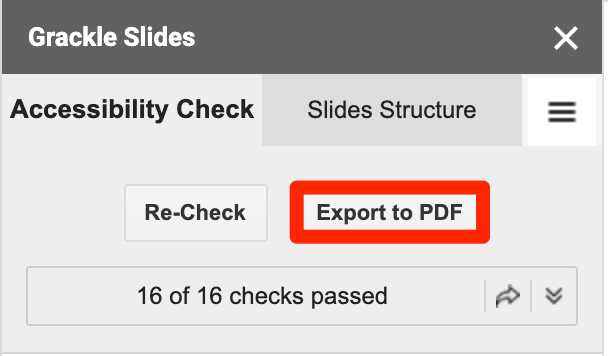 Grackle Slides screenshot - Export to PDF is selected.