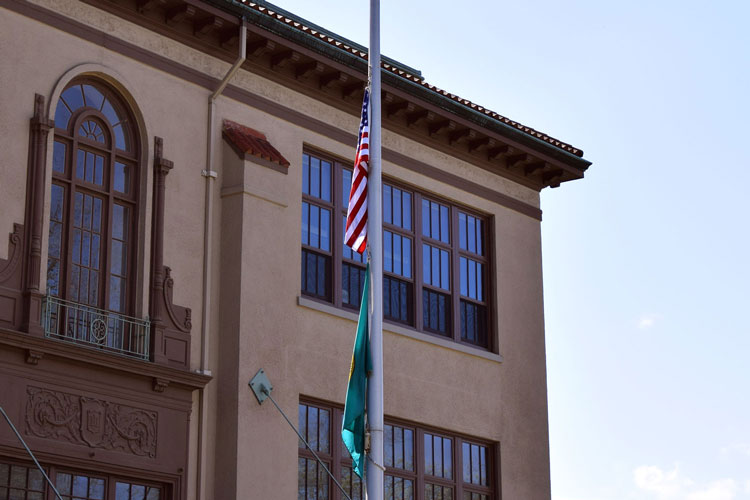 Flags at half-staff outside Avanti HS building