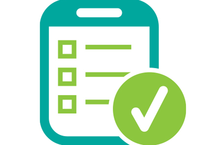 Graphic of a survey form with a checkmark