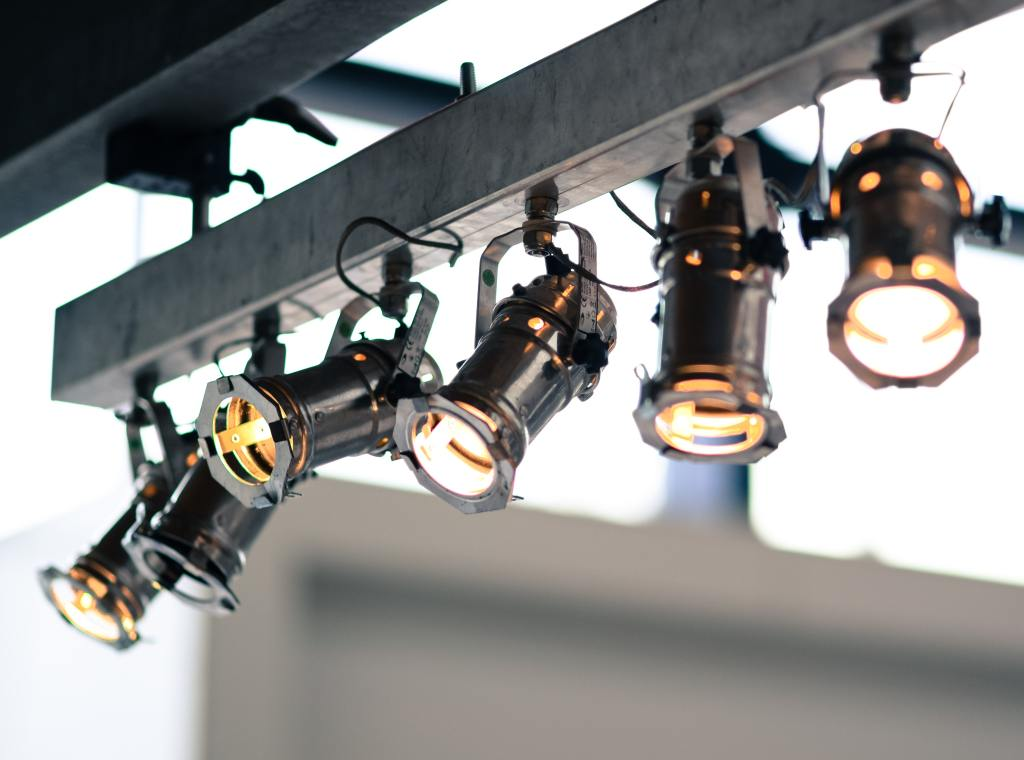 Spotlights hanging from ceiling